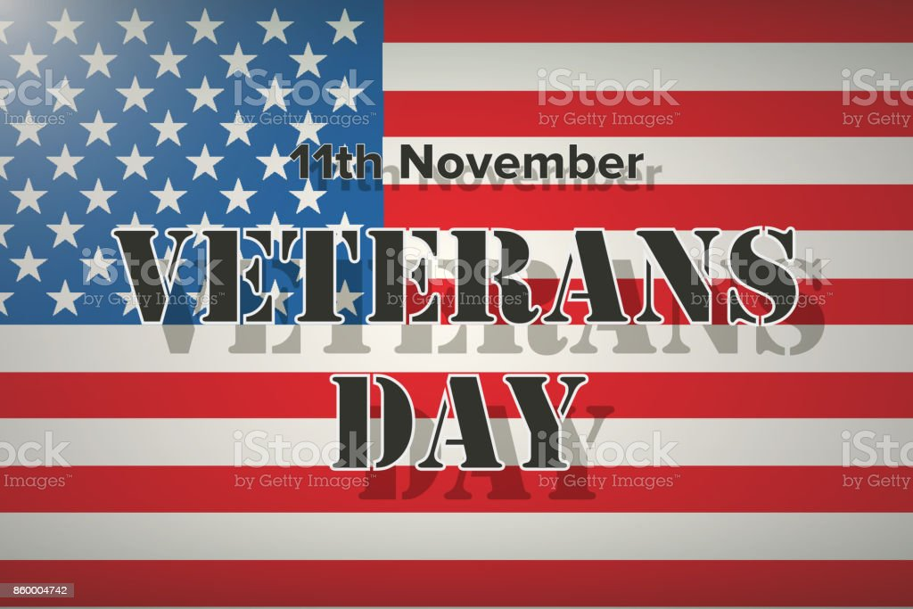American Flag And Veterans Day Label stock vector art 860004742