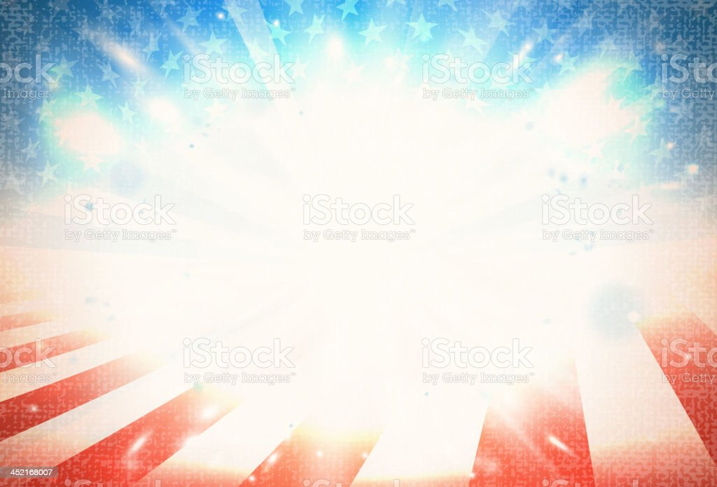 American flag art with light in the middle  vector art illustration