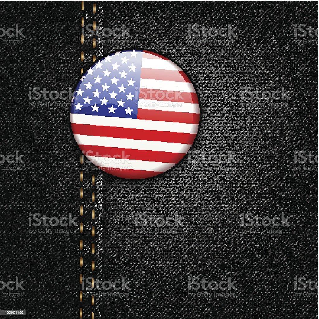 American Flag Badge On Jeans Denim Texture Vector royalty-free american flag badge on jeans denim texture vector stock vector art & more images of american culture