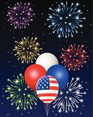 Illustration of American Flag Balloons with Fireworks at the Back (Pdf(6) and Ai(8) files are included)