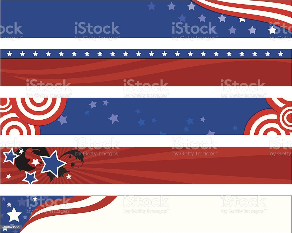 American Flag Banners vector art illustration