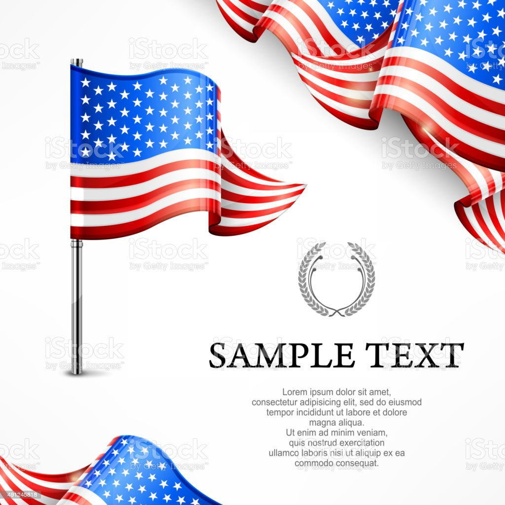 American flag & banners with text vector art illustration