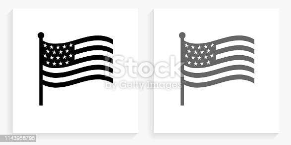 istock American Flag Black and White Square Icon 1143958795