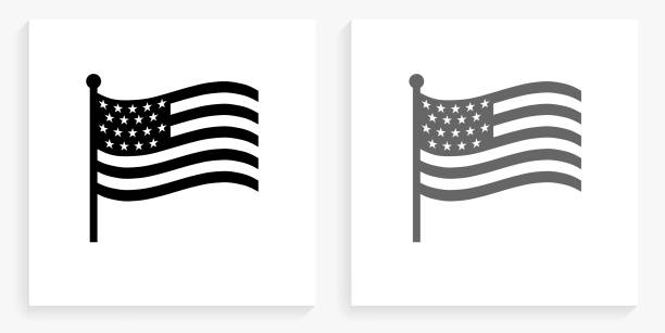 American Flag Black and White Square Icon vector art illustration