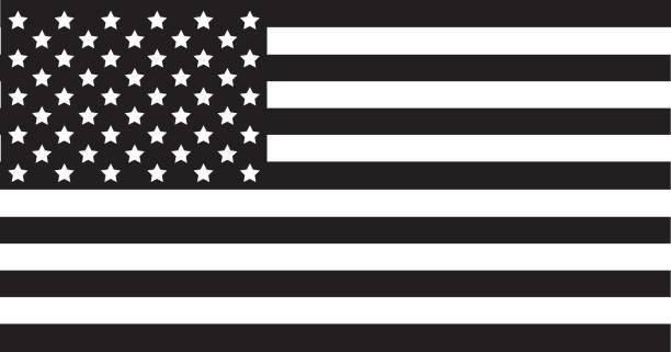 ilustrações, clipart, desenhos animados e ícones de preto da bandeira americana - preto e branco