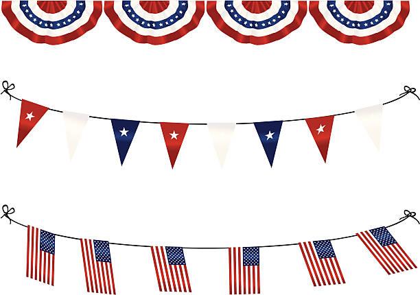 American Flag Bunting vector art illustration