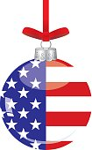 Vector illustration of a shiny glass christmas ornament hanging from a red ribbon with an american flag on it.