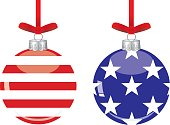 Vector illustration of two american flag christmas ornaments. One with stars and one with stripes.