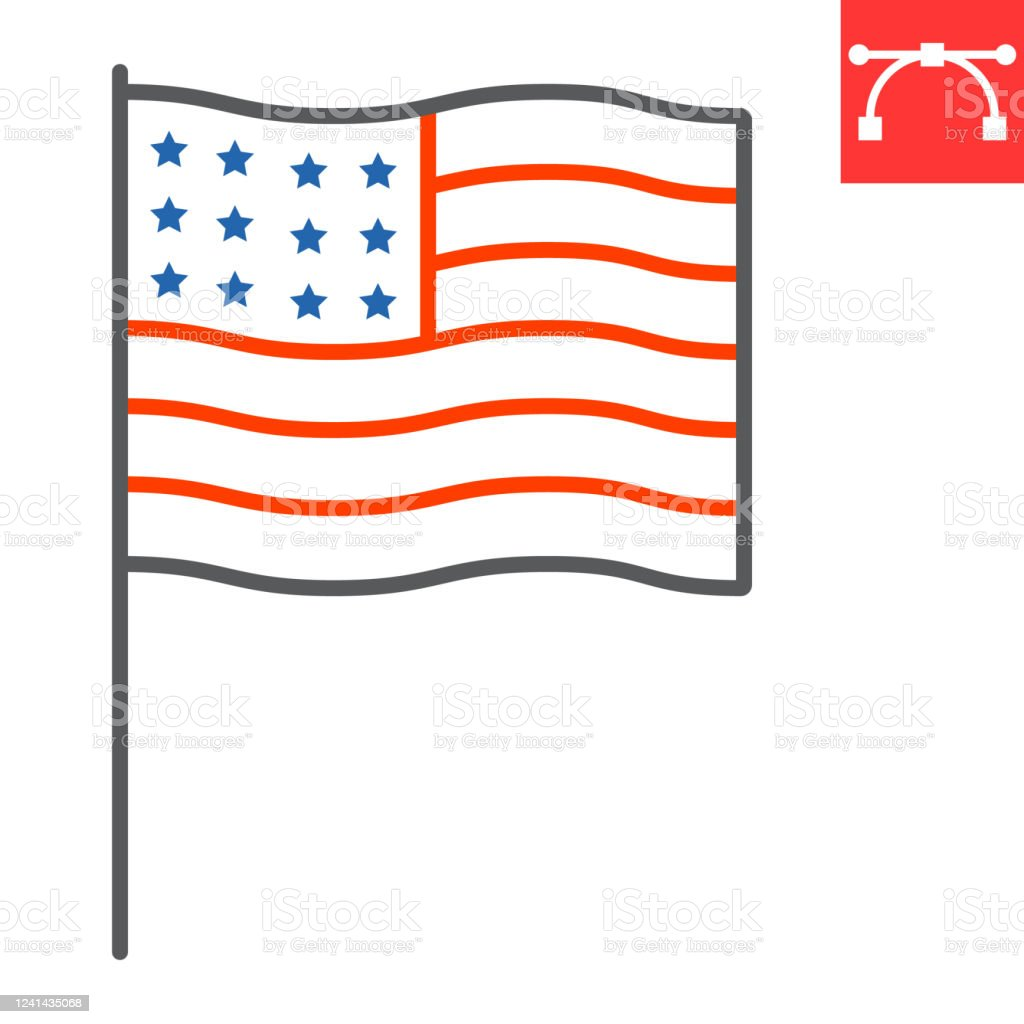 American Flag Color Line Icon Usa And Country Usa Flag Sign Vector Graphics Editable Stroke Linear Icon Eps 10 Stock Illustration Download Image Now Istock