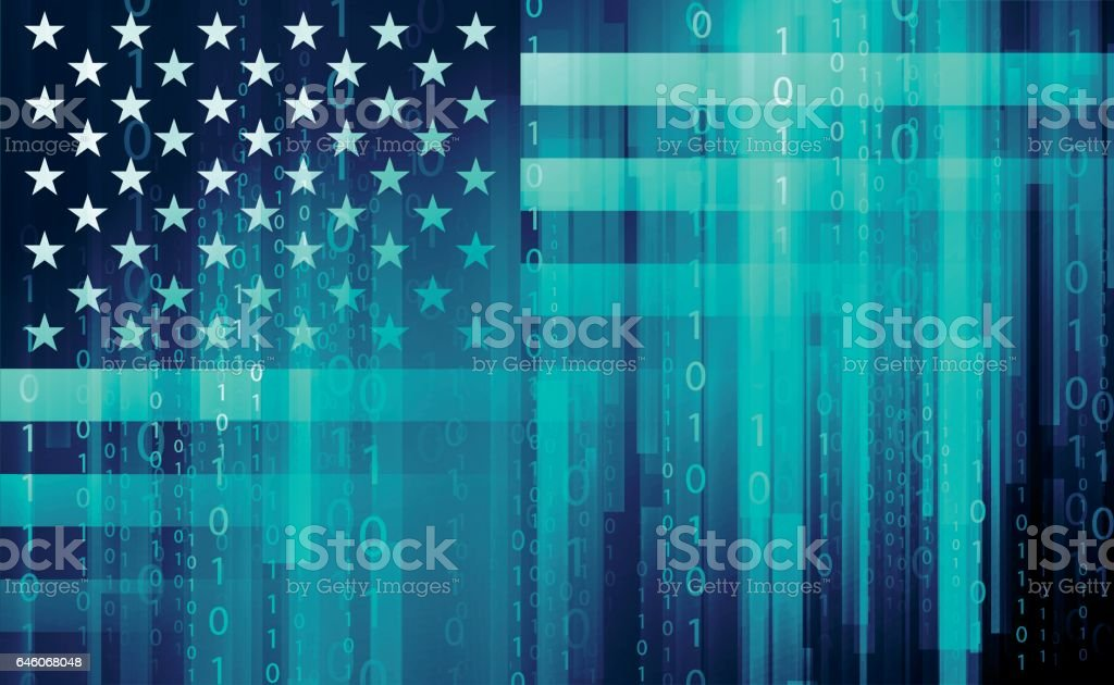 American flag - cyber security vector art illustration