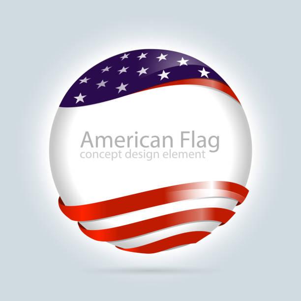 American flag design element vector art illustration