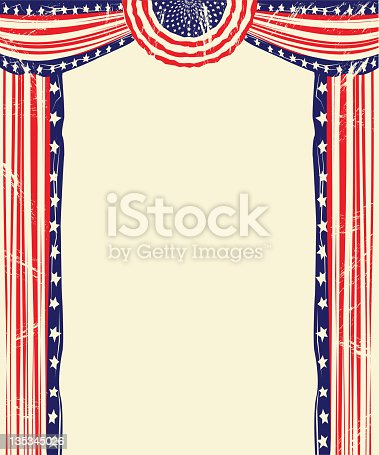 Old fashioned American flag and festoon designed stage to frame an ad or event. Logical layers and groups.  Antique white look. An additional Illustrator and JPEG file are provided with bright whites. Both JPEGS without grunge effect are also included.  The grunge effect is on a separate layer.