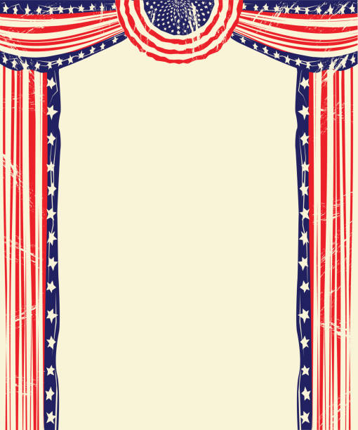 American Flag Design Element with Bunting vector art illustration