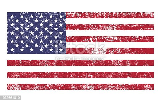 American flag distressed grunge texture. Vector illustration.