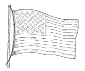 American flag drawing - vintage like illustration of flag of USA. Contour on white background.
