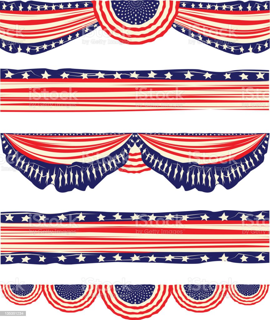 American Flag Elements and Buntings, Distressed look vector art illustration
