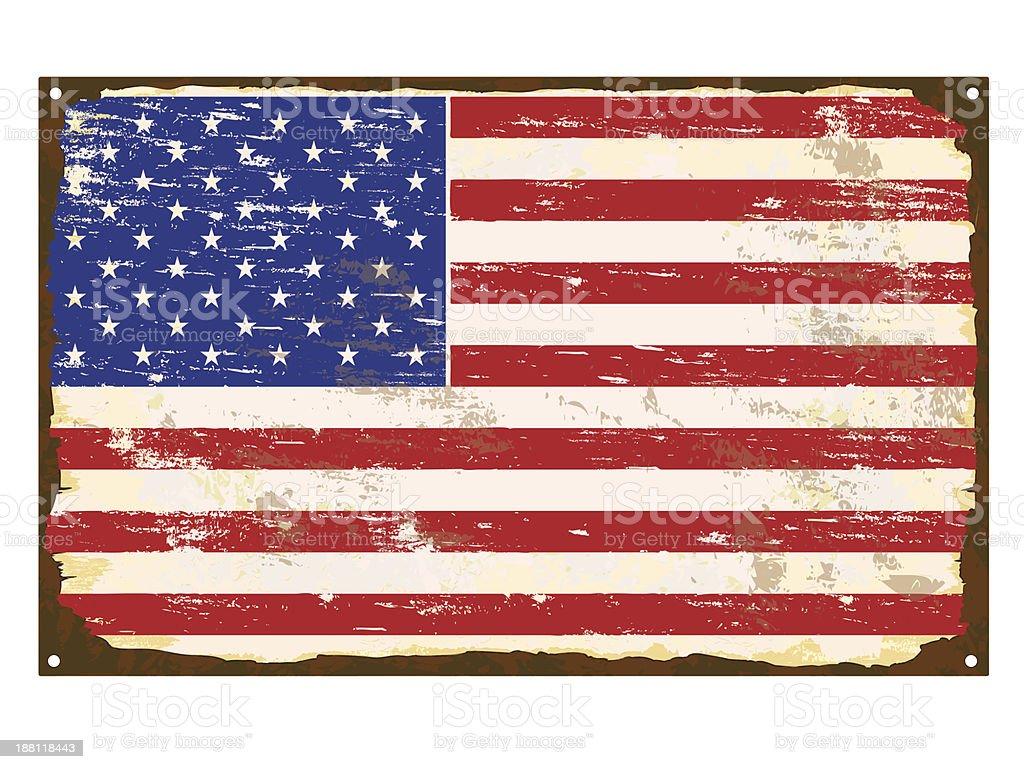 American Flag Enamel Sign royalty-free stock vector art