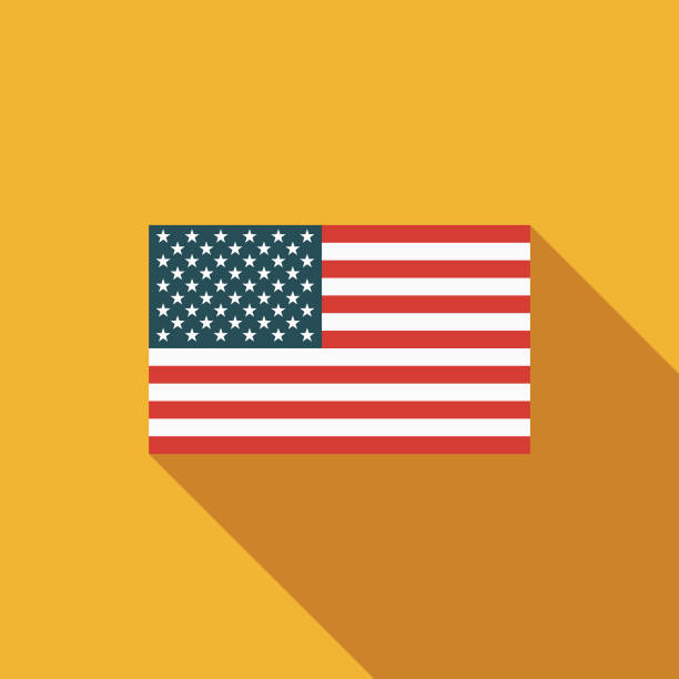 American Flag Flat Design USA Icon with Side Shadow A pastel colored flat design United States of America icon with a long side shadow. Color swatches are global so it's easy to edit and change the colors. american flag illustrations stock illustrations