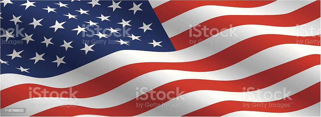 American Flag Flowing in the Wind vector art illustration
