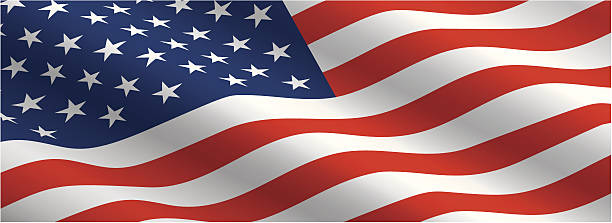 american flag flowing in the wind - american flag stock illustrations