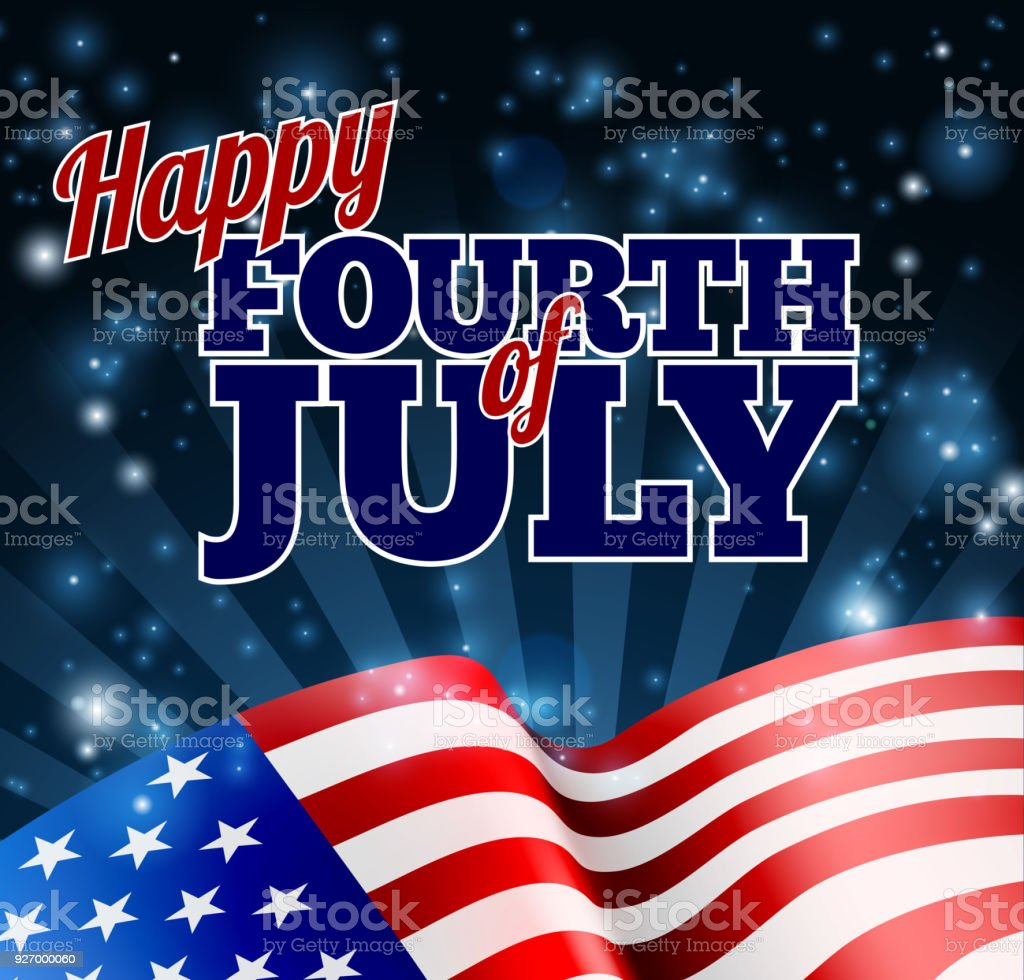 American Flag Fourth of July Background vector art illustration