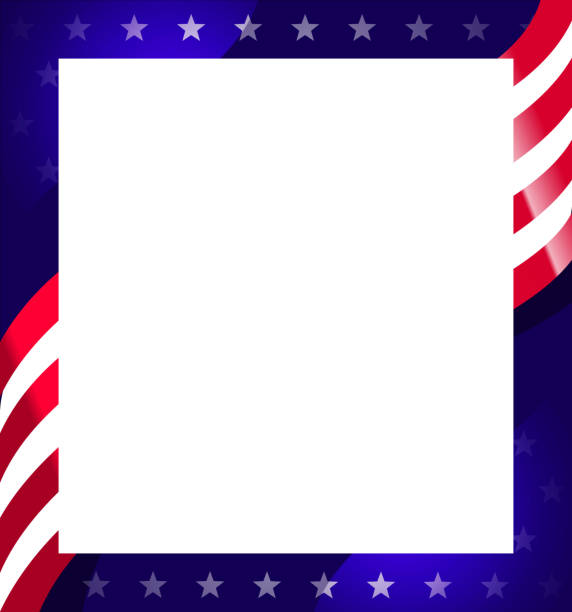 Royalty Free American Flag Picture Frame Clip Art, Vector Images ...