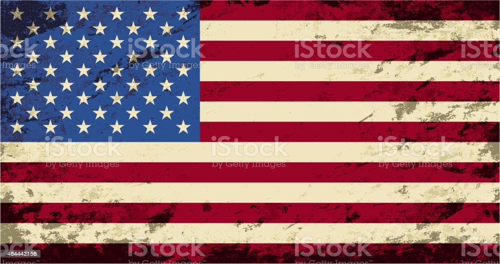 American flag. Grunge background. Vector illustration vector art illustration