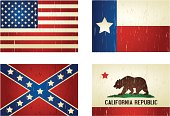 Flags of the united states, california, texas and confederate, looks like old vintage flag