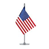 Flag design. American flag hanging on the metallic pole. Isolated template for your designs. Vector illustration.