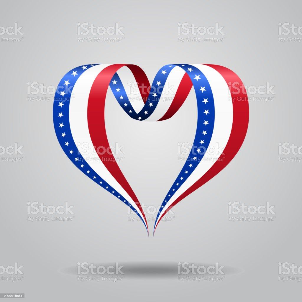 American flag heart-shaped ribbon. Vector illustration. vector art illustration