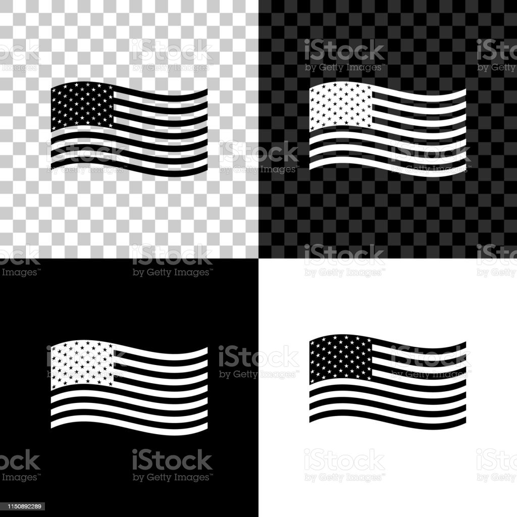 American Flag Icon Isolated On Black White And Transparent