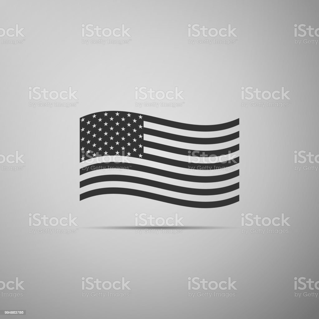 american flag icon isolated on grey background flag of usa flat rh istockphoto com US Flag Vector Clip Art Tattered US Flag Vector