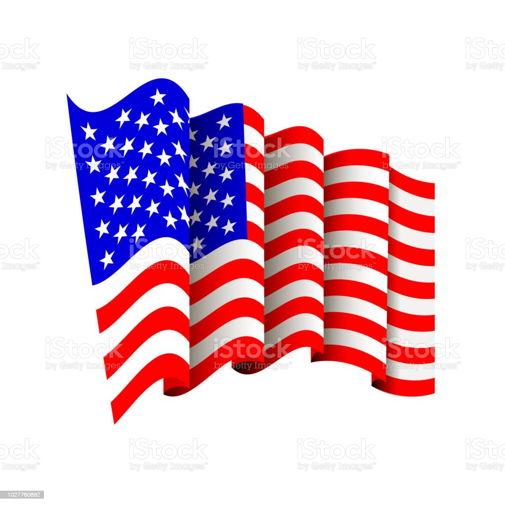 American Flag Icon Isolated Waving Icon Of United States Of America