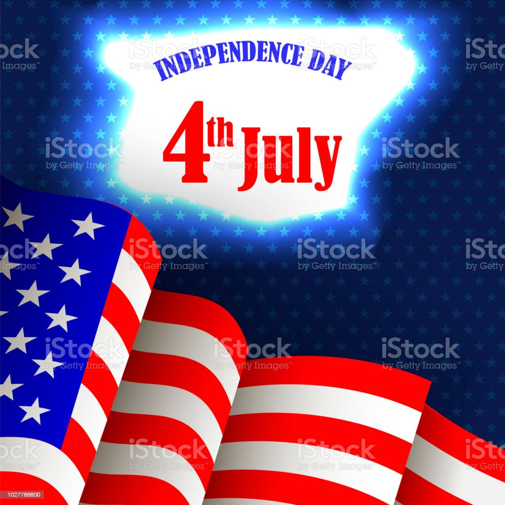 American Flag Icon On Blue Background Waving Icon Of United States