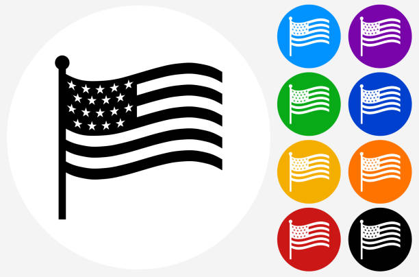 American Flag Icon on Flat Color Circle Buttons American Flag Icon on Flat Color Circle Buttons. This 100% royalty free vector illustration features the main icon pictured in black inside a white circle. The alternative color options in blue, green, yellow, red, purple, indigo, orange and black are on the right of the icon and are arranged in two vertical columns. pattern stock illustrations