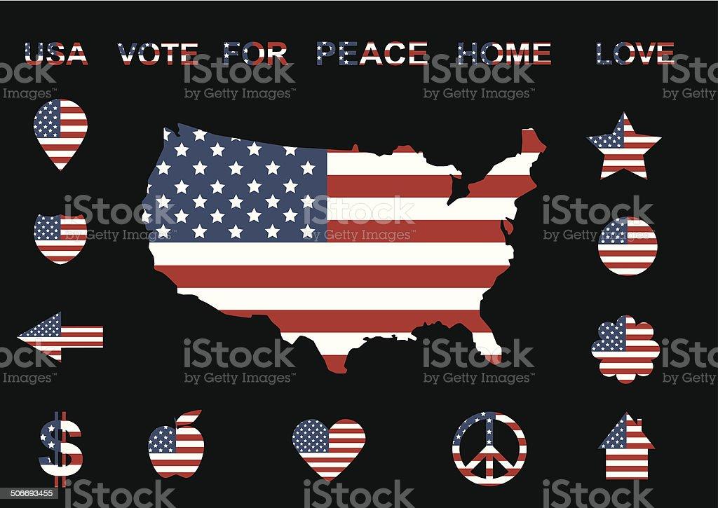american flag icons vector art illustration