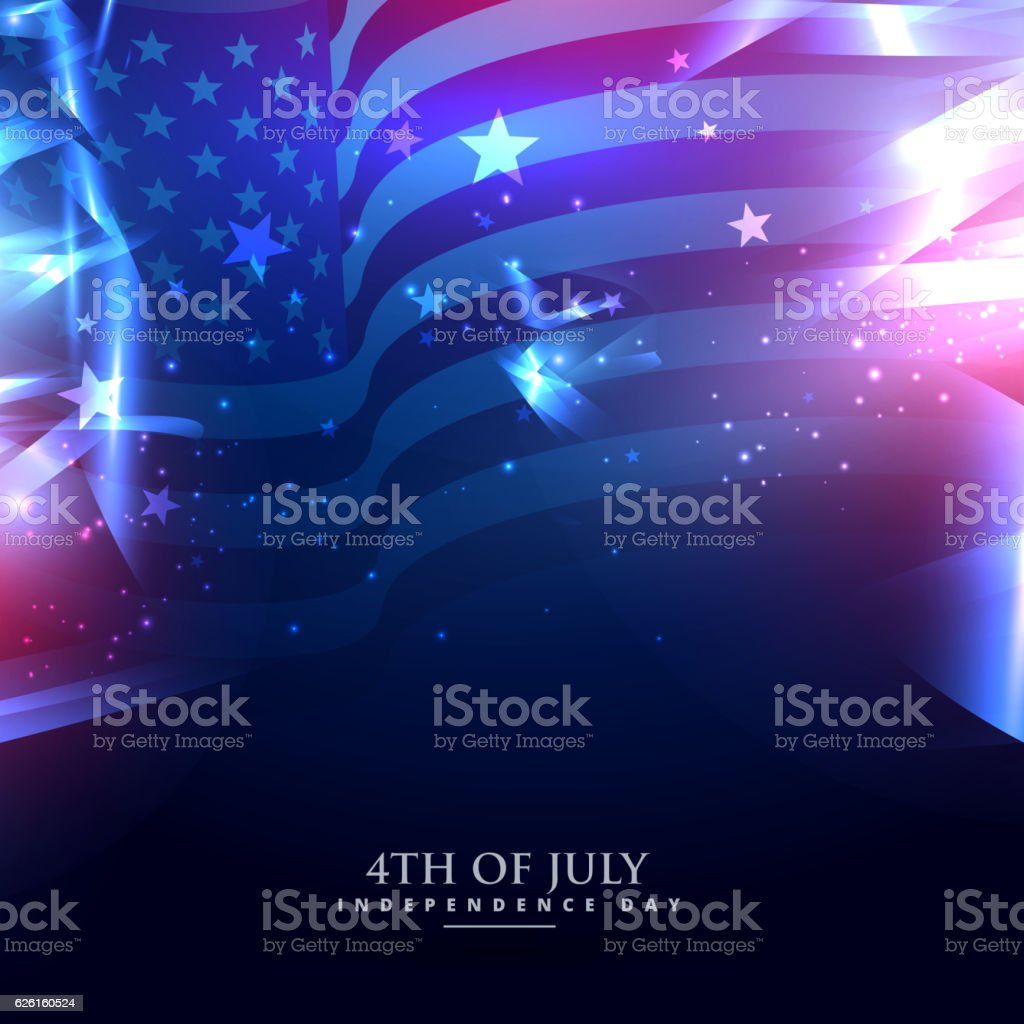 american flag in abstract background vector art illustration