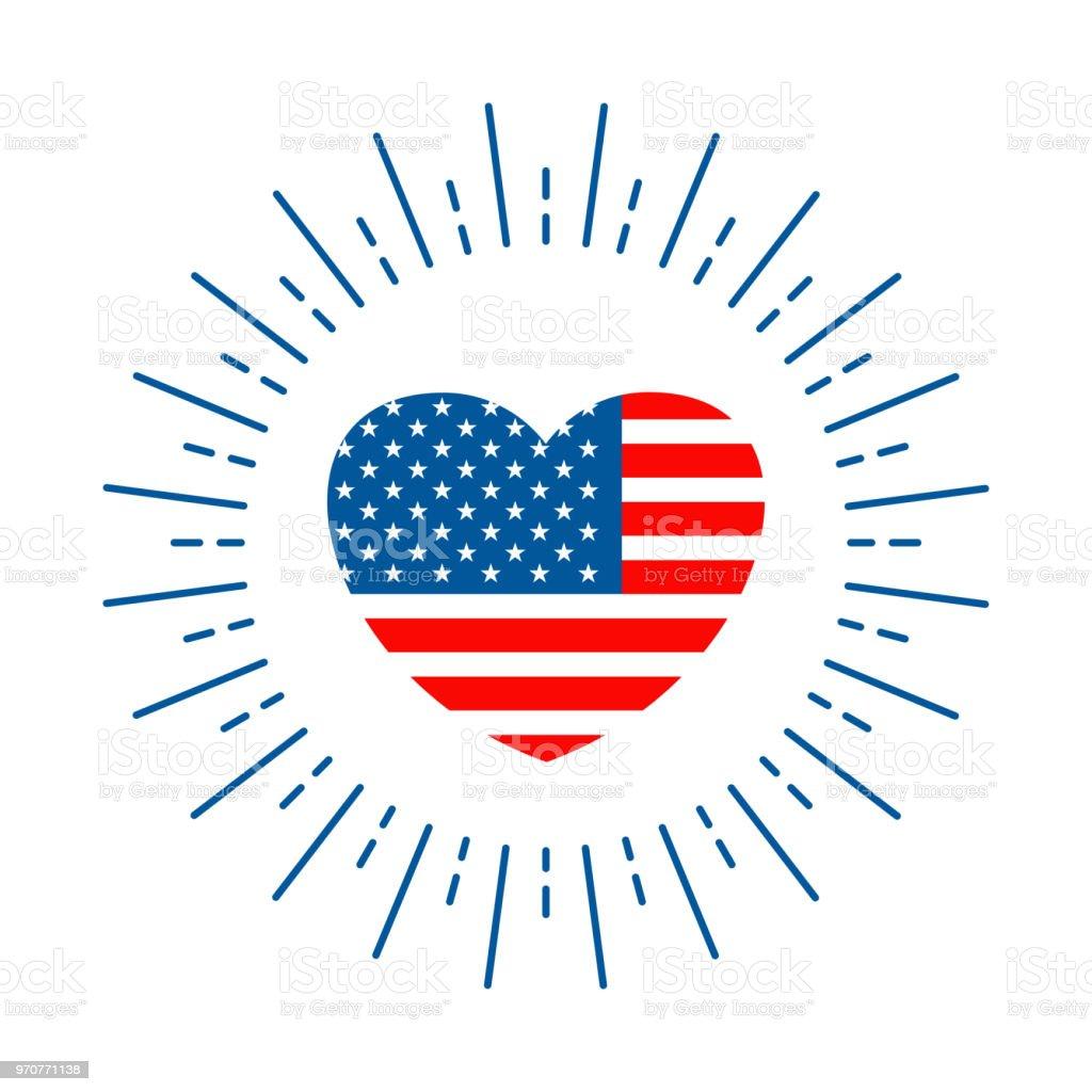 american flag in heart vector art illustration