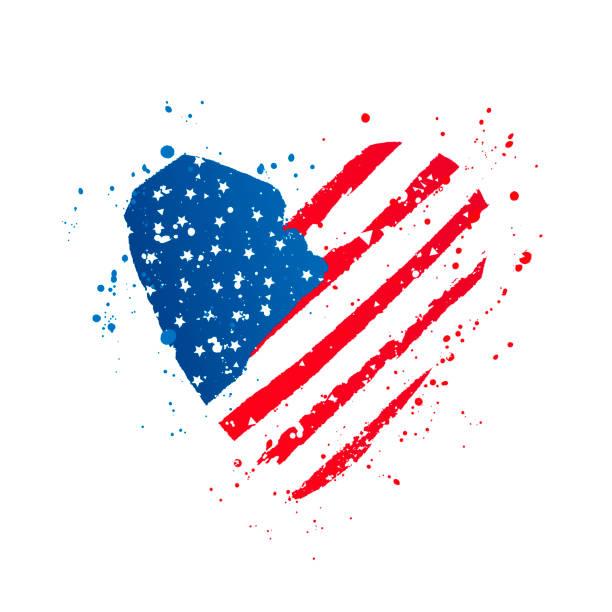 Amerikanische Fahne in Form eines großen Herzens. Vektorabbildung – Vektorgrafik