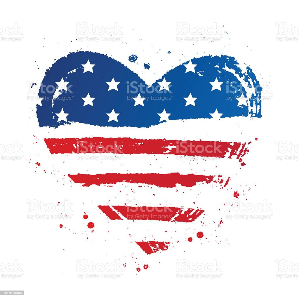 American flag in the shape of a heart vector art illustration
