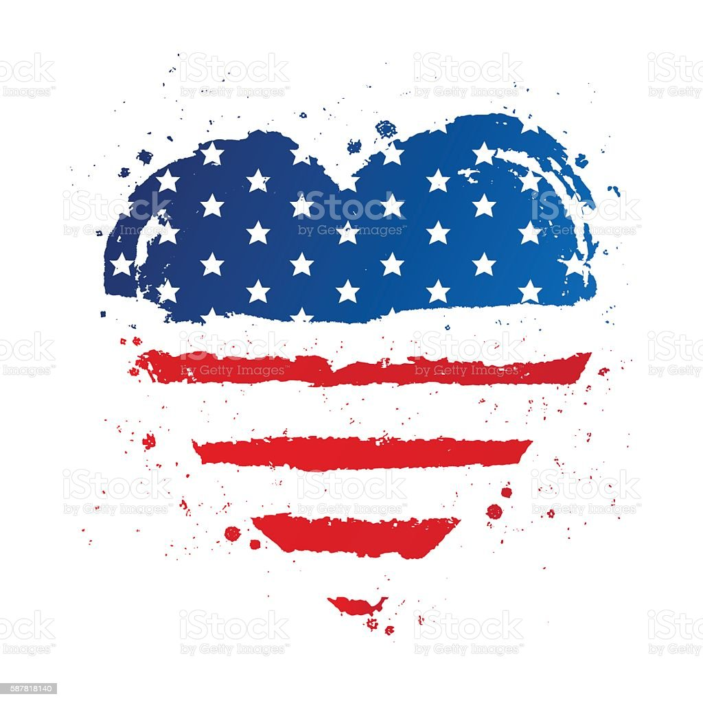 American flag in the shape of a large heart. USA vector art illustration