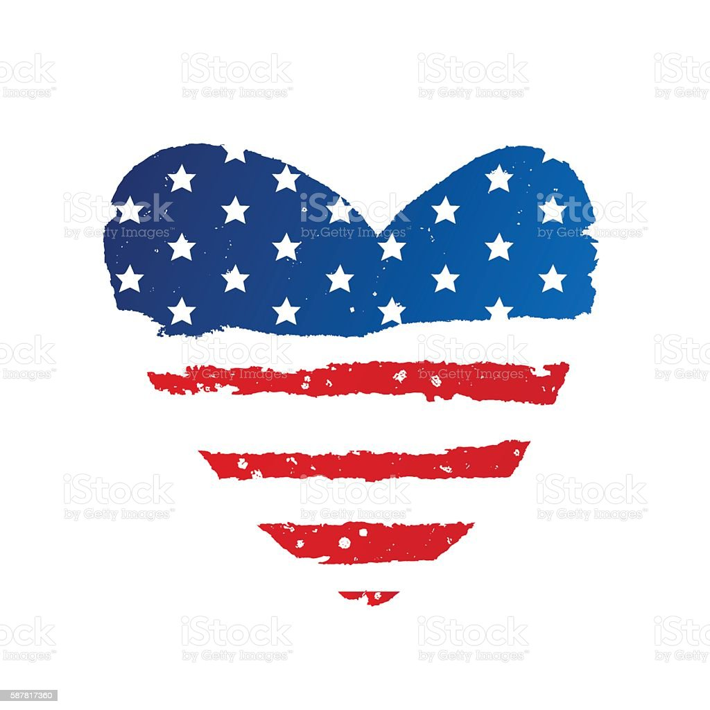 American flag in the shape of a large heart vector art illustration