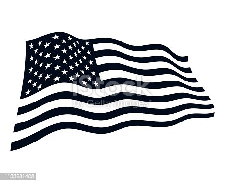 American flag in the wind vector illustration