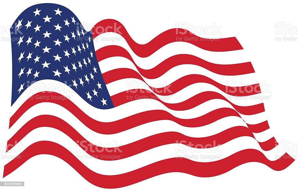 American Flag In The Wind Illustration - VECTOR vector art illustration