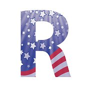 colorful illustration with  american flag letter R on a white background