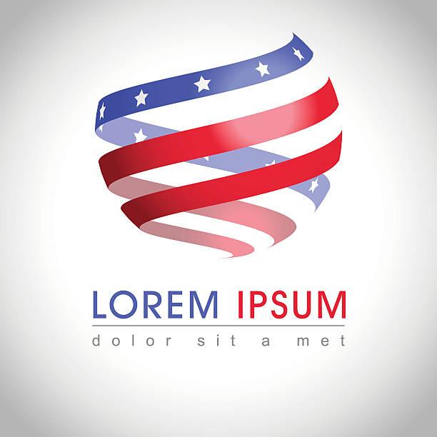 American flag logo - ilustración de arte vectorial