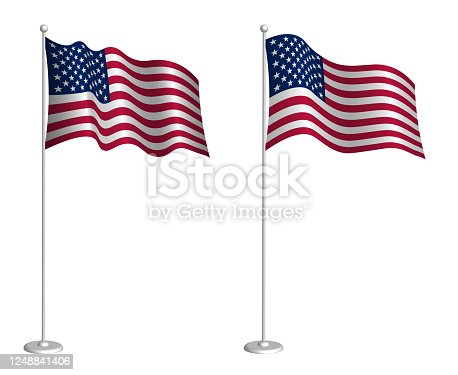 American flag on flagpole waving in the wind. Holiday design element. Checkpoint for map symbols. Isolated vector on white background