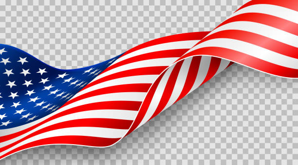 American flag on transparent background for 4t of July poster template.USA independence day celebration.USA 4th of July promotion advertising banner template for Brochures,Poster or Banner vector art illustration