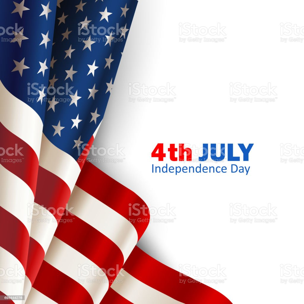 American flag on white vector art illustration