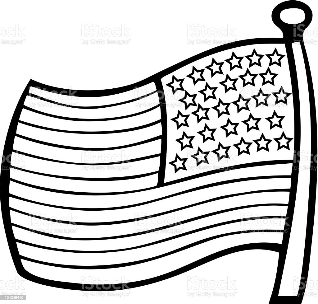 Line Drawing Usa : American flag outline stock vector art more images of